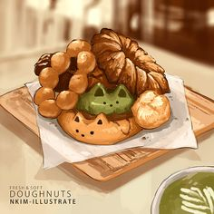 Personal Art Blog. Just things I doodle and draw. NKim-ILLUSTRATES is my illustration blog! PLEASE... Cute Food Drawings, Cute Kawaii Drawings, Chibi Food, Cute Food Art, Kawaii Dessert, Food Painting, Bakery Cafe, Food Illustrations, Japanese Food