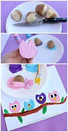 Potato Print Owl Craft for Children - Crafty Morgen - Juna Rosenfeld - . - Potato Print Owl Craft for Children – Crafty Tomorrow – Juna Rosenfeld – - Kids Crafts, Owl Crafts, Animal Crafts, Summer Crafts, Toddler Crafts, Projects For Kids, Diy For Kids, Arts And Crafts, Summer Art Projects
