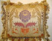 Handmade Piecework Pillow with Large Scale Damask and Tassel Fringe Traditional Pillows, Damask, Decorative Pillows, Tassels, Bed Pillows, Pillow Cases, Scale, Unique Jewelry, Handmade Gifts