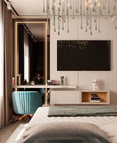 SOLO APARTMENT on Behance Master Bedroom Layout, Bedroom Tv Wall, Bedroom Layouts, Home Bedroom, Bedroom Decor, Modern Luxury Bedroom, Modern Bedroom Design, Luxurious Bedrooms, Small Apartment Design