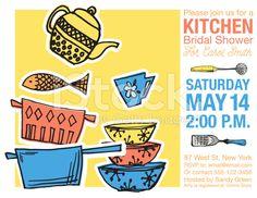 Retro Kitchen Bridal Shower Invitation Template royalty-free stock vector art