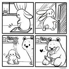 Cute Couple Comics, Couples Comics, Bunny And Bear, Cute Bears, Love Can, Seulgi, Cupid, Cute Couples, Rabbit