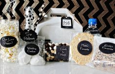 Welcome bags for out-of-town wedding guests with a fabulous black and white theme from B Lovely Events. Easy to make with personalized DIY Avery Labels!