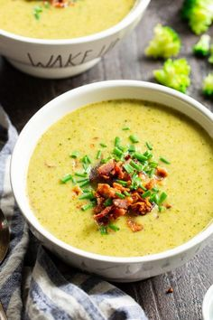 Creamy Broccoli Soup with Bacon (Paleo, Cremige Brokkolisuppe mit Speck {Paleo, Healthy Recipes, Lunch Recipes, Easy Dinner Recipes, Soup Recipes, Cooking Recipes, Keto Recipes, Bacon Recipes, Paleo Soup, Paleo Diet