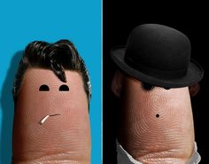 Danny Zucko from 'Grease' and Alex DeLarge from 'A Clockwork Orange' - Finger portraits: Artist works his index finger to the bone for Ditology project - NY Daily News