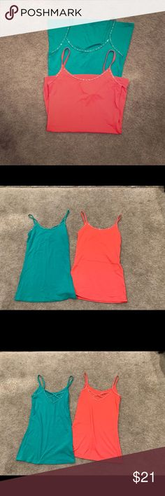 Catherines Rhinestone Tank Top Sleeveless Cotton Blend TEAL Plus Petite New NWOT