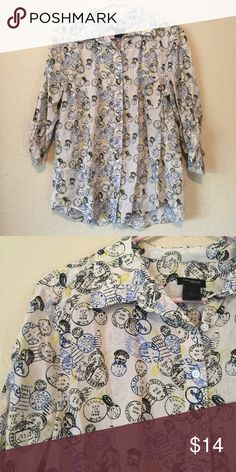 Ann Taylor cotton button down camp shirt, L This camp shirt features a roll cuff sleeve and buttondown with a cute postal theme! It's a size L and is in excellent condition Ann Taylor Tops Button Down Shirts