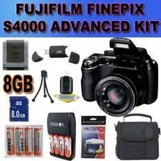 Fujifilm FinePix S4000 14 MP Digital Camera with Fujinon 30x Super Wide Angle Optical Zoom Lens and 3-Inch LCD Accessory Saver 8GB NiMH Battery/Rapid Charger Bundle International Version With no Warranty BLACK by Fuji. $175.19. This Kit Includes: 1- Fujifilm FinePix S4000 14 MP Digital Camera Brand New USA w/ Manufacturer's Supplied Accessories 1- 8GB SDHC Memory Card (Dont Miss a Memory!) 1- USB SDHC Memory Card Reader (Download Images Quicker!) 8- 2900MaH+ AA NiMH ...