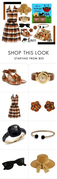 """Birthday Picnic"" by kimmie-plus2 on Polyvore featuring Michael Kors, Isaac Mizrahi, Yves Saint Laurent, Pomellato, David Yurman, Ray-Ban, Scala and Picnic at Ascot"
