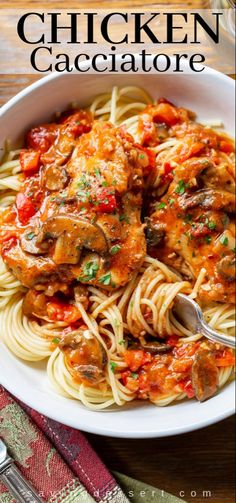 Really good Chicken Cacciatore is one of the most satisfying, delicious and comforting Italian dishes you can make at home. Great served with spaghetti or over polenta. #chicken #chickenthighs #chickencacciatore #cacciatore #comfortfood #italiandish #italianfood #italiancacciatore #bestchickencacciatore #dinner