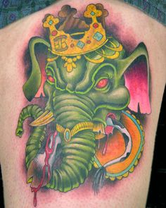 Image result for new school tattoo ganesh