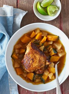 Gingery Chicken Stew NYT Cooking: Just 1 pounds of chicken to serve four people? Yes, because the emphasis is on the winter squash and daikon radish in this stew Best Chicken Thigh Recipe, Stew Chicken Recipe, Chicken Thigh Recipes, Chicken Soup, Soup Recipes, Cooking Recipes, Healthy Recipes, Duck Recipes, Recipes