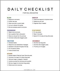 Daily Blogging Tasks Checklist