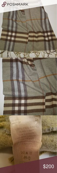 Burberry 100% Cashmere Scarf Amazing Burberry check cashmere scarf in green brown and orange tones.  Perfect for fall and winter!  Excellent used condition with no defects.  Care tag is a bit faded.  100% Authentic Burberry Accessories Scarves