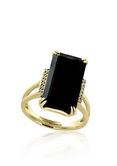 ecdd79c8db9d Effy® Onyx and Diamond Ring in 14k Yellow Gold Onyx Ring