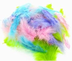 Our new pastel feathers mix: perfect for crafty projects.