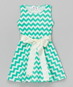Look at this Mint & White Chevron Dress - Infant, Toddler & Girls on #zulily today!