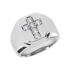 Ashley Jewels Jesus Cross Ring 14K White Gold Plated Alloy /& Simulated Diamond Studded Ring