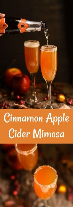 This apple cider mimosa is a fall spin on a classic cocktail! Great for autumn parties, Thanksgiving, and more. It's SO tasty!