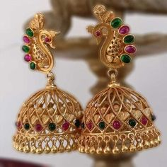 Images of Different Designers Earrings buy peacock designed temple jhumki in gold plated shobtxk - Jewelry Amor Gold Jhumka Earrings, Jewelry Design Earrings, Gold Earrings Designs, Gold Jewellery Design, Antique Earrings, Designer Earrings, Gold Jewelry, Jhumka Designs, Handmade Jewellery