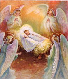 Angels & Baby Jesus Christmas card