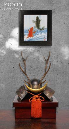 "The title of this shikishi art board is ""Kinun Onobori Koi"", ""Carp climbing the steep waterfall, bringing good luck with money and businesses."" ( hard to make a nice English translation!). This Japanese watercolor was hand painted onto a regular size washi shikshi board, by Tokushima born, Sato Shingo (1955 - ). #japanesewatercolor #japanesecarp #shikishiboard #japaneseluckycharm #carppainting by #JapanDownUnder on Etsy Japanese Bar, Vintage Japanese, Japanese Style, Samurai Helmet, Samurai Armor, Seven Falls, Hina Matsuri, Moon Symbols, Japanese Watercolor"