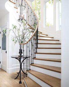 Modern Staircase Design Ideas - Stairs are so common that you don't provide a second thought. Take a look at best 10 examples of modern staircase that are as spectacular as they are . Wrought Iron Staircase, Iron Stair Railing, Staircase Railings, Curved Staircase, Modern Staircase, Spiral Staircases, Iron Spindle Staircase, Staircase Landing, Iron Balusters