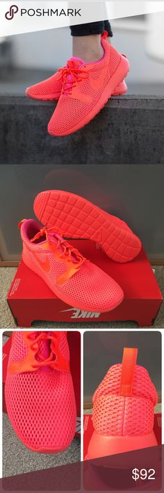 New NIKE women's Roshe One Hyp ~ 8.5 brand new no lid size 8.5 crimson/pink blast comes from smoke free home 100% authentic guaranteed Nike Shoes Athletic Shoes