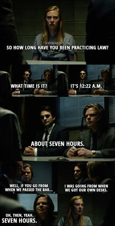 Karen Page: So how long have you been practicing law? Matt Murdock: What time is it? Foggy Nelson: It's a. Matt Murdock: About seven hours. Foggy Nelson: Well, if you go from when we passed the bar… Matt Murdock:. Marvel Show, Mcu Marvel, Marvel Funny, Marvel Quotes, Marvel Memes, Daredevil Funny, Marvel's Daredevil, Marvel Universe, Charlie Cox