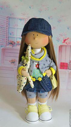 Купить Текстильная кукла ручной работы со съемной одеждой - комбинированный, кукла ручной работы