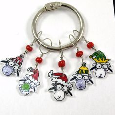 Santa and Grinch sheep stitch markers whimsical by needleclicksEtc, $9.00
