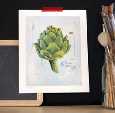 Adore this artichoke painting by Kal Barteski. Food Sketch, Plant Illustration, Kitchen Art, Food Illustrations, Artichoke, Graphic Prints, Food Art, Sketches, Brainstorm