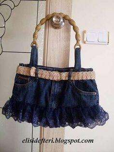 From old jeans Blue Jean Purses, Estilo Denim, Denim Handbags, Denim Purse, Mode Jeans, Denim Ideas, Denim Crafts, Recycled Denim, Denim Fashion