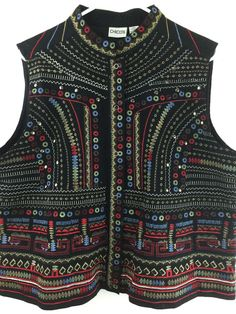 Chicos 3 Vest Colorful Embroidered Cotton Southwestern Snap Front Sz 16/18 L XL #Chicos