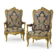 A large pair of Napoléon III carved giltwood fauteuil à la reine, French, circa 1870.