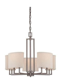 Nuvo Lighting 60/4855 Gemini Five Light Chandelier with Khaki Fabric Shades Hazel Bronze Indoor Lighting Chandeliers