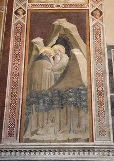 Agnolo Gaddi - Storie di Sant'Antonio abate, abbraccio di Antonio e Paolo eremita - affresco - 1385 - Cappella Castellani - Basilica di Santa Croce a Firenze.