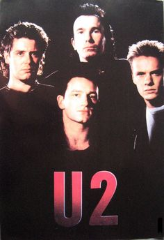 U2 poster as they looked in the 80s 14.5 x 21 Bono The Edge