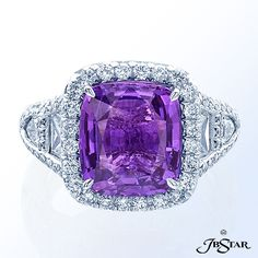 """Style 1112 Exquisite 6.50ct """"no-heat"""" purple cushion sapphire and diamond ring, hand-set in a micro-pave halo setting, enhanced by trapezoid and shield diamonds. Platinum"""