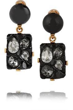 Oscar de la Renta - Diamond Rock gold-plated, resin and crystal clip earrings Black Earrings, Gold Plated Earrings, Crystal Earrings, Clip On Earrings, Women's Earrings, Jewelry Trends, Black Diamond, Plating, Crystals