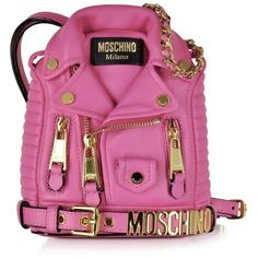 Moschino Handbags Nappa Leather Biker Jacket Backpack ($1,545) ❤ liked on Polyvore featuring bags, backpacks, fuchsia, pink bag, rucksack bag, pink backpack, knapsack bags and backpack bag
