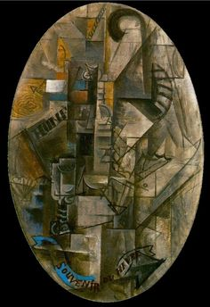 """""""Souvenir from Havre"""".Artist: Pablo Picasso Completion Date: 1912 Style: Analytical Cubism Period: Cubist Period Genre: still life Technique: oil Material: canvas Dimensions: 92 x 65 cm Gallery: Private Collection. Pablo Picasso, Picasso Art, Picasso Paintings, Oil Paintings, Synthetic Cubism, Trinidad, Cubist Movement, Cubist Art, Georges Braque"""