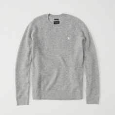 Abercrombie & Fitch Icon Cashmere Waffle Sweater ($140) ❤ liked on Polyvore featuring men's fashion, men's clothing, men's sweaters, grey, mens grey sweater, mens crewneck sweaters, mens grey crew neck sweater, mens gray sweater and mens cashmere sweaters