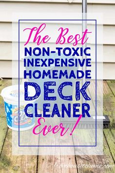 Looking for an easy and inexpensive way to wash your deck? This DIY deck cleaner is the best homemade deck wash recipe I have found. It will make your deck look brand new again and it's non toxic. Wood Deck Railing, Deck Stairs, Easy Deck, Cool Deck, Deck Cleaning, Cleaning Hacks, Cleaning Supplies, Cleaning Products, Cleaning Wood