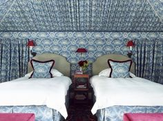 Signature Spaces: The Well-Traveled Interiors of Paolo Moschino & Philip Vergeylen Blue And White Wallpaper, Of Wallpaper, Pierre Frey, Tent Room, Grey Headboard, Classic Baths, Comfy Sofa, Interior Decorating, Interior Design
