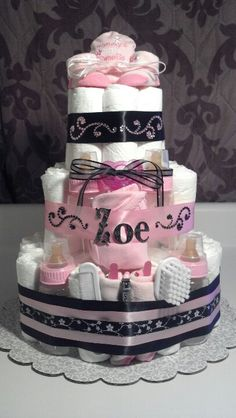 Baby girl diaper cake pink and black