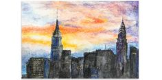 NYC Sunset  Dramatic Skyline Watercolor of New York  by JoJackLee