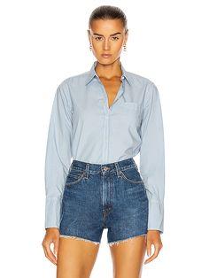 NILI LOTAN NL Shirt in Cambridge Blue | FWRD Nili Lotan, Clothing Items, Cambridge, Denim Shorts, Button Down Shirt, Ralph Lauren, Sleeves, Blue, Shirts