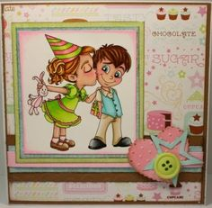 "Redonkadoodles.com - ""Birthday Kisses"" Digital Stamp - Handmade Birthday Card By: Kim"