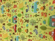100% Cotton Quilting Fabric - Yellow with Cars, Owls, Trees, Fox & Hedgehogs.